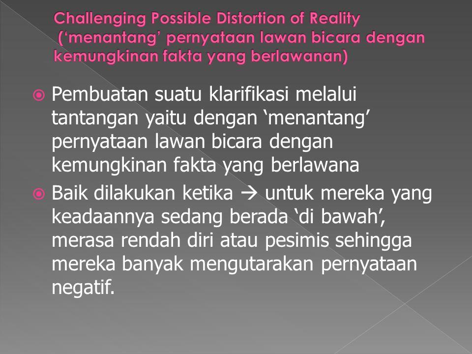  Pembuatan suatu klarifikasi melalui tantangan yaitu dengan 'menantang' pernyataan lawan bicara dengan kemungkinan fakta yang berlawana  Baik dilaku