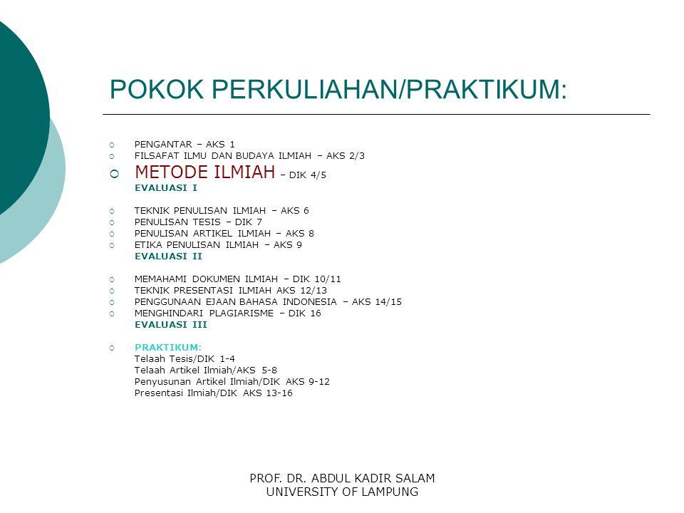 PROF. DR. ABDUL KADIR SALAM UNIVERSITY OF LAMPUNG