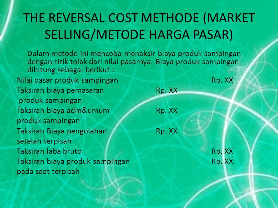 THE REVERSAL COST METHODE (MARKET SELLING/METODE HARGA PASAR) Dalam metode ini mencoba menaksir biaya produk sampingan dengan titik tolak dari nilai p