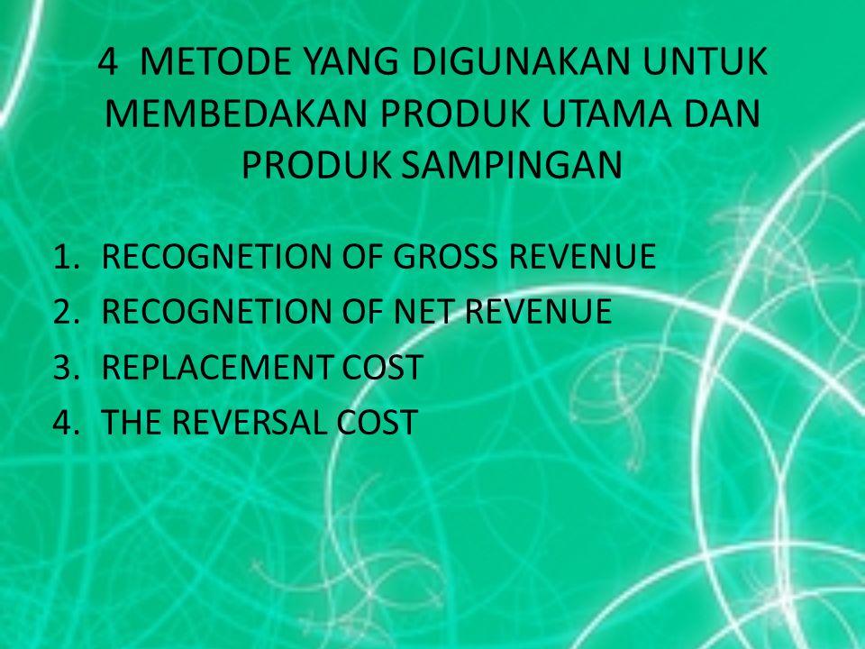 4 METODE YANG DIGUNAKAN UNTUK MEMBEDAKAN PRODUK UTAMA DAN PRODUK SAMPINGAN 1.RECOGNETION OF GROSS REVENUE 2.RECOGNETION OF NET REVENUE 3.REPLACEMENT C