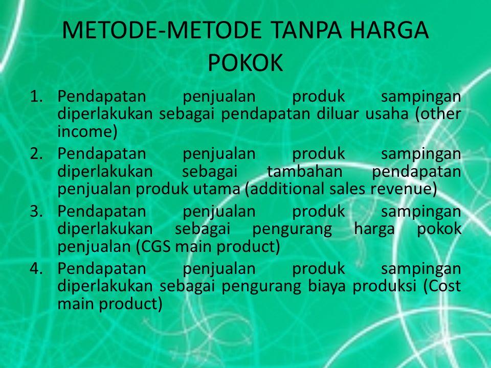 METODE-METODE TANPA HARGA POKOK 1.Pendapatan penjualan produk sampingan diperlakukan sebagai pendapatan diluar usaha (other income) 2.Pendapatan penju