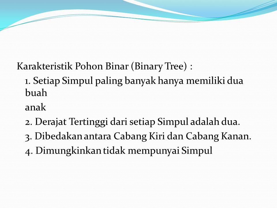 Karakteristik Pohon Binar (Binary Tree) : 1. Setiap Simpul paling banyak hanya memiliki dua buah anak 2. Derajat Tertinggi dari setiap Simpul adalah d
