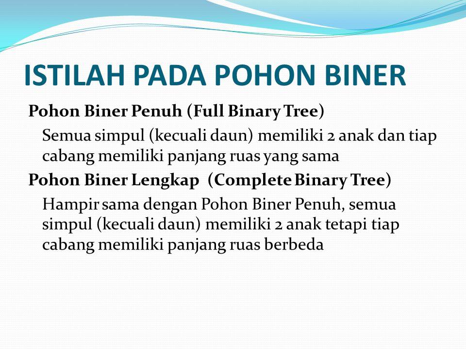 ISTILAH PADA POHON BINER Pohon Biner Penuh (Full Binary Tree) Semua simpul (kecuali daun) memiliki 2 anak dan tiap cabang memiliki panjang ruas yang s