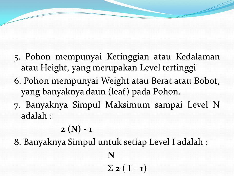 5. Pohon mempunyai Ketinggian atau Kedalaman atau Height, yang merupakan Level tertinggi 6. Pohon mempunyai Weight atau Berat atau Bobot, yang banyakn