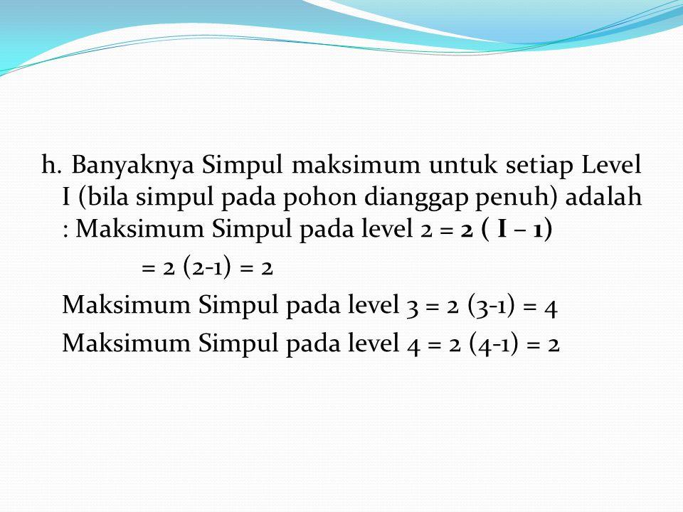 h. Banyaknya Simpul maksimum untuk setiap Level I (bila simpul pada pohon dianggap penuh) adalah : Maksimum Simpul pada level 2 = 2 ( I – 1) = 2 (2-1)