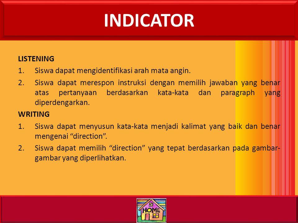 STANDARD COMPETENCE/ BASIC COMPETENCE LISTENING 1.Memahami instruksi dan informasi sangat sederhana baik secara tindakan maupun bahasa dalam konteks s