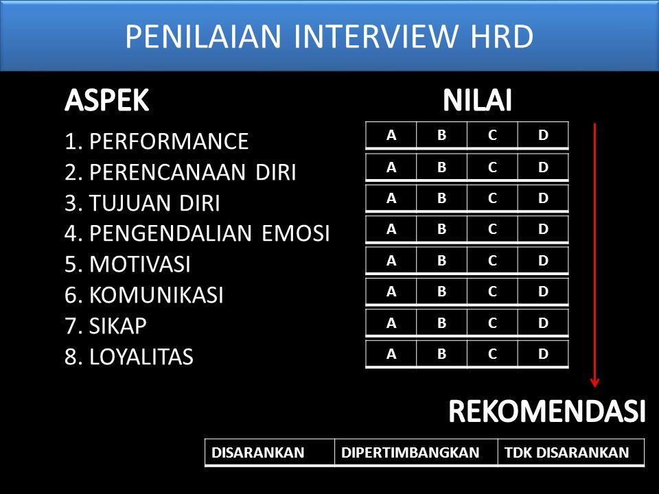 PENILAIAN INTERVIEW HRD 1.PERFORMANCE 2.PERENCANAAN DIRI 3.TUJUAN DIRI 4.PENGENDALIAN EMOSI 5.MOTIVASI 6.KOMUNIKASI 7.SIKAP 8.LOYALITASABCD ABCD ABCD ABCD ABCD ABCD ABCD ABCD DISARANKANDIPERTIMBANGKANTDK DISARANKAN