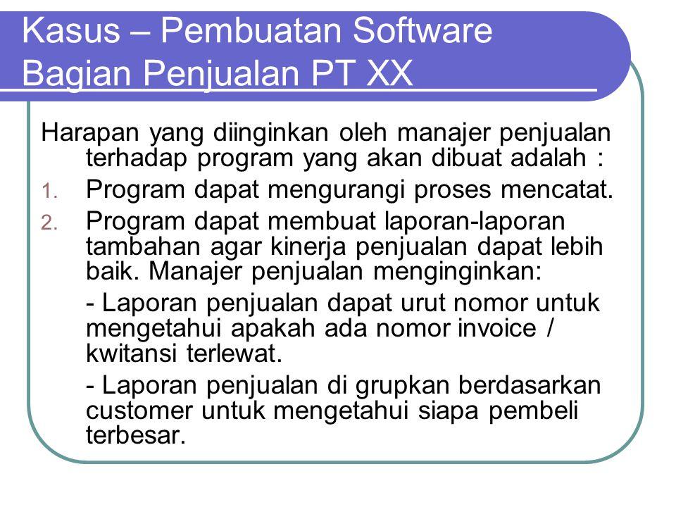 Kasus – Pembuatan Software Bagian Penjualan PT XX Harapan yang diinginkan oleh manajer penjualan terhadap program yang akan dibuat adalah : 1. Program