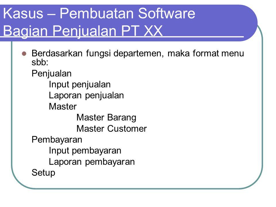 Kasus – Pembuatan Software Bagian Penjualan PT XX Berdasarkan fungsi departemen, maka format menu sbb: Penjualan Input penjualan Laporan penjualan Mas