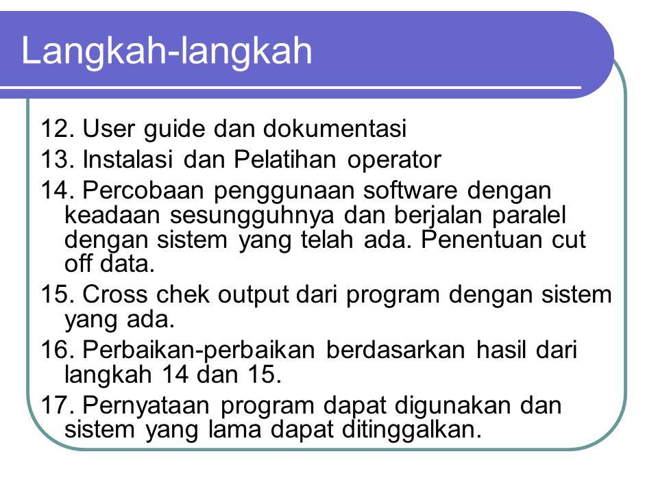 Langkah-langkah 12. User guide dan dokumentasi 13. Instalasi dan Pelatihan operator 14. Percobaan penggunaan software dengan keadaan sesungguhnya dan