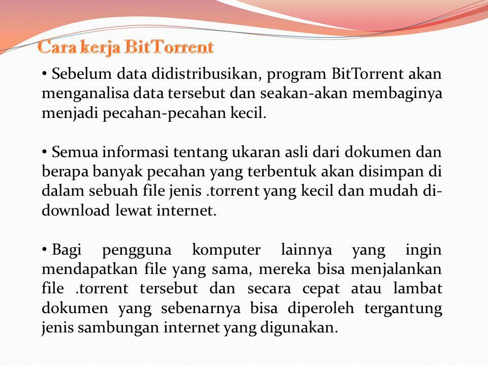 Sebelum data didistribusikan, program BitTorrent akan menganalisa data tersebut dan seakan-akan membaginya menjadi pecahan-pecahan kecil.