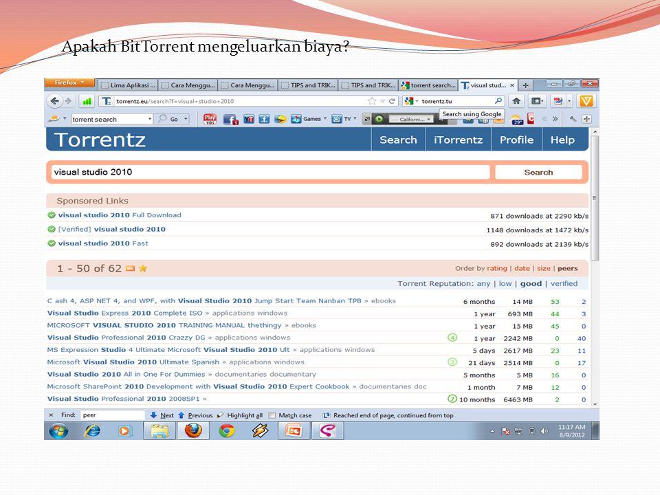 Apakah BitTorrent mengeluarkan biaya