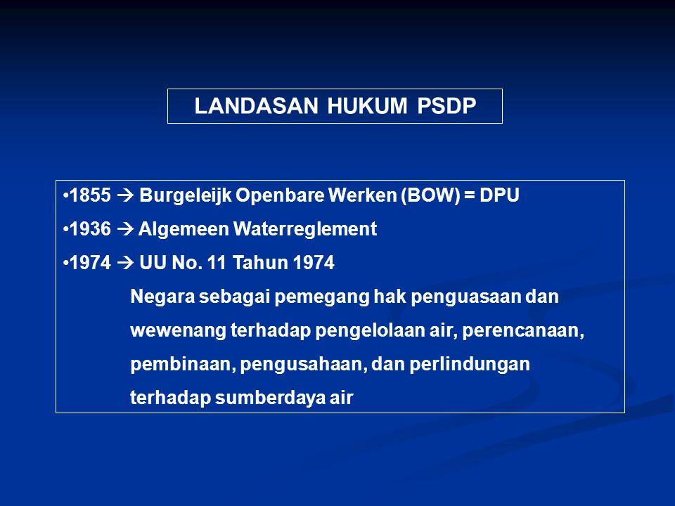 LANDASAN HUKUM PSDP 1855  Burgeleijk Openbare Werken (BOW) = DPU 1936  Algemeen Waterreglement 1974  UU No. 11 Tahun 1974 Negara sebagai pemegang h