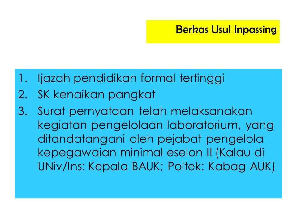 Berkas Usul Inpassing 1.Ijazah pendidikan formal tertinggi 2.SK kenaikan pangkat 3.Surat pernyataan telah melaksanakan kegiatan pengelolaan laboratori