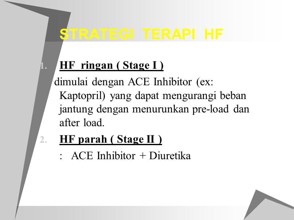 STRATEGI TERAPI HF 1. HF ringan ( Stage I ) dimulai dengan ACE Inhibitor (ex: Kaptopril) yang dapat mengurangi beban jantung dengan menurunkan pre-loa