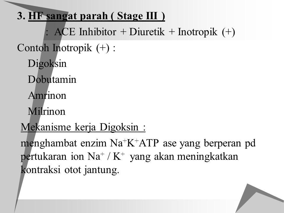 3. HF sangat parah ( Stage III ) : ACE Inhibitor + Diuretik + Inotropik (+) Contoh Inotropik (+) :  Digoksin  Dobutamin  Amrinon  Milrinon Mekanis
