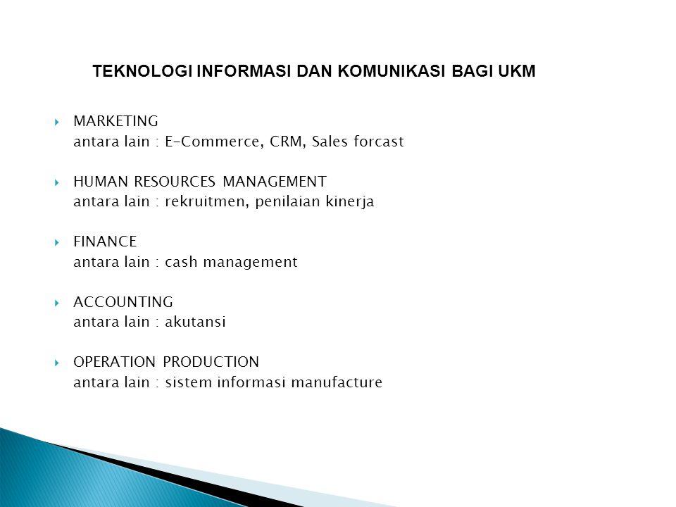  MARKETING antara lain : E-Commerce, CRM, Sales forcast  HUMAN RESOURCES MANAGEMENT antara lain : rekruitmen, penilaian kinerja  FINANCE antara lai
