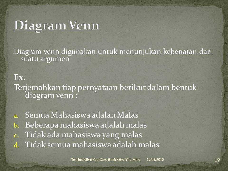 Diagram venn digunakan untuk menunjukan kebenaran dari suatu argumen Ex. Terjemahkan tiap pernyataan berikut dalam bentuk diagram venn : a. Semua Maha