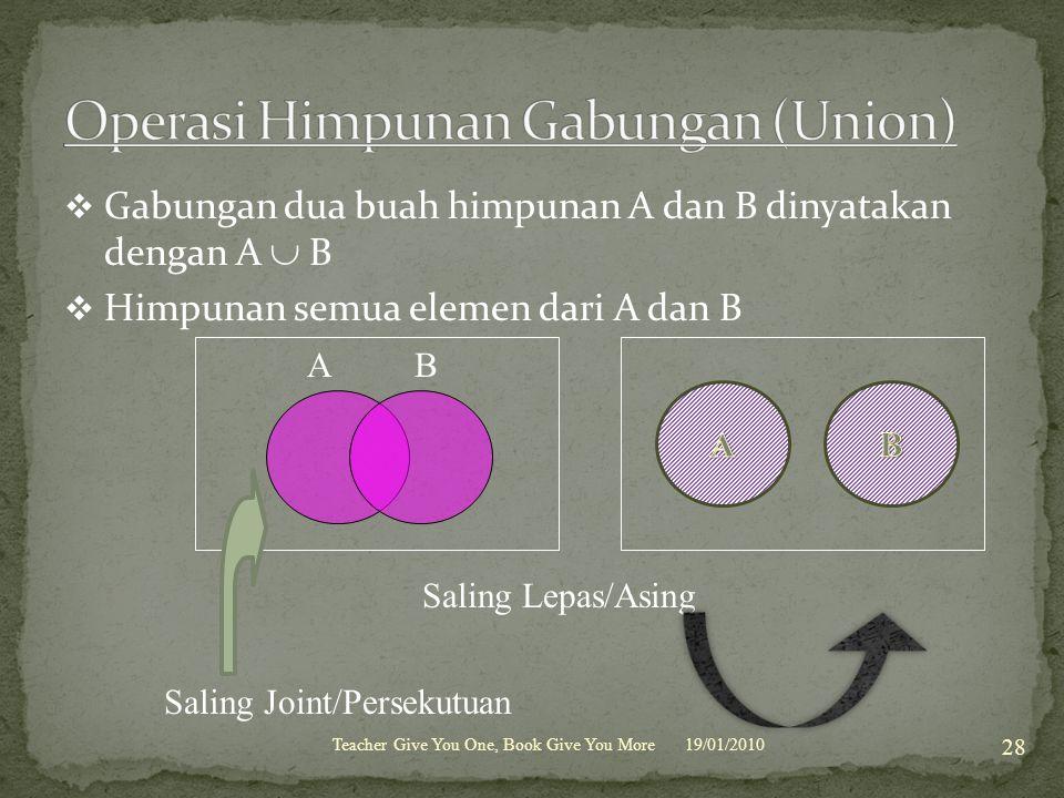  Gabungan dua buah himpunan A dan B dinyatakan dengan A  B  Himpunan semua elemen dari A dan B 19/01/2010Teacher Give You One, Book Give You More 2