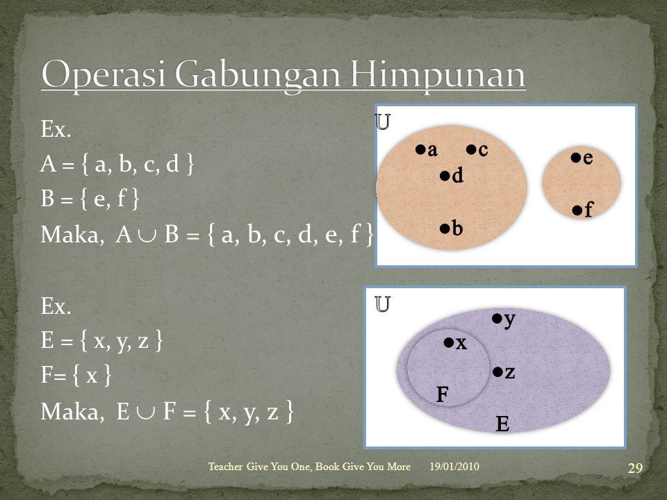 Ex.A = { a, b, c, d } B = { e, f } Maka, A  B = { a, b, c, d, e, f } Ex.