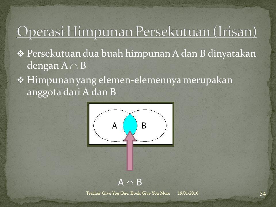  Persekutuan dua buah himpunan A dan B dinyatakan dengan A  B  Himpunan yang elemen-elemennya merupakan anggota dari A dan B 19/01/2010Teacher Give You One, Book Give You More 34 A  B