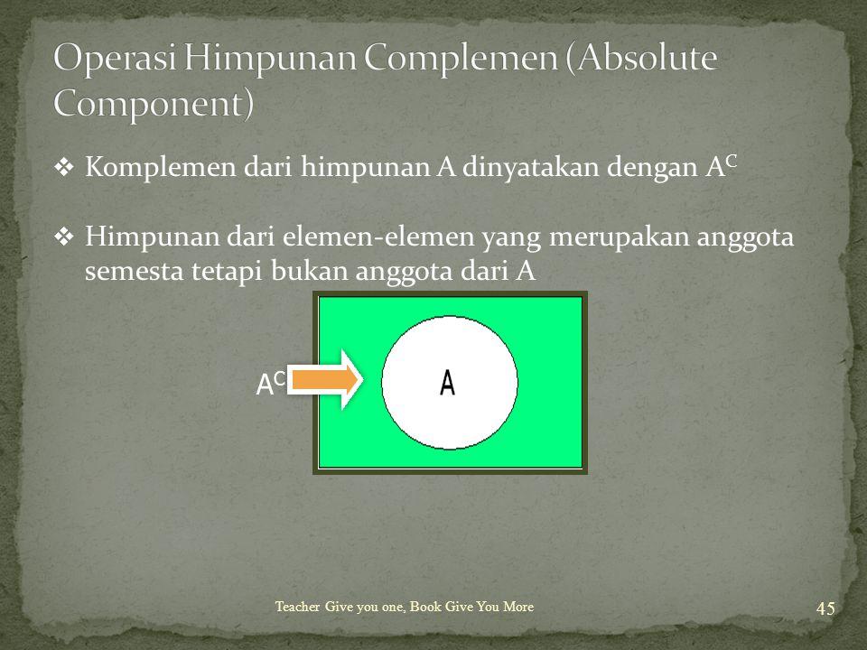 Teacher Give you one, Book Give You More 45  Komplemen dari himpunan A dinyatakan dengan A C  Himpunan dari elemen-elemen yang merupakan anggota sem