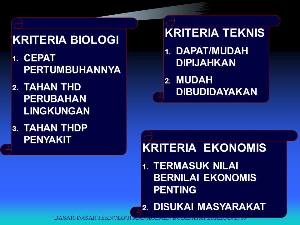 KRITERIA BIOLOGI 1. CEPAT PERTUMBUHANNYA 2. TAHAN THD PERUBAHAN LINGKUNGAN 3. TAHAN THDP PENYAKIT KRITERIA TEKNIS 1. DAPAT/MUDAH DIPIJAHKAN 2. MUDAH D