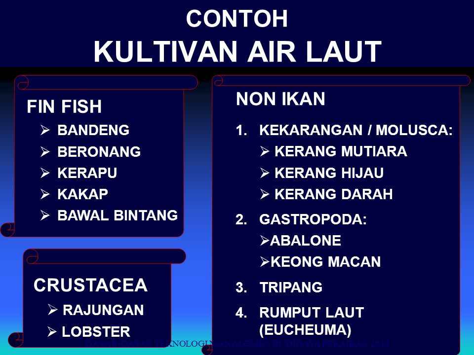 CONTOH KULTIVAN AIR LAUT FIN FISH  BANDENG  BERONANG  KERAPU  KAKAP  BAWAL BINTANG CRUSTACEA  RAJUNGAN  LOBSTER NON IKAN 1.KEKARANGAN / MOLUSCA