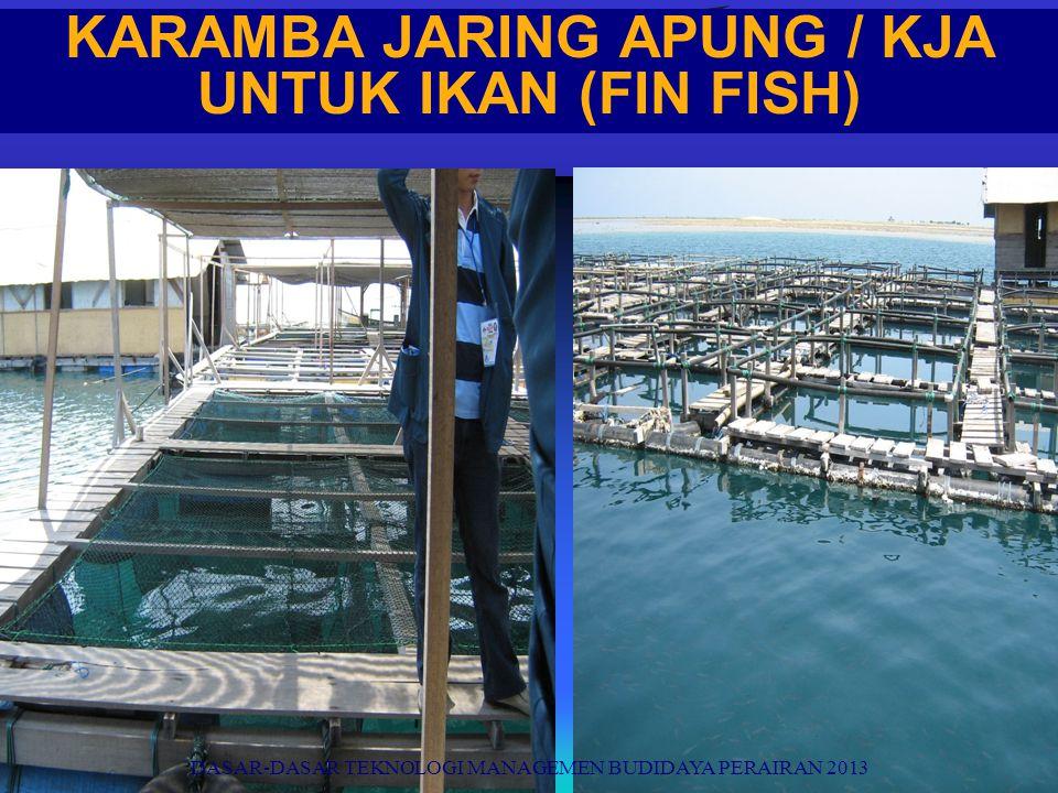 KARAMBA JARING APUNG / KJA UNTUK IKAN (FIN FISH) DASAR-DASAR TEKNOLOGI MANAGEMEN BUDIDAYA PERAIRAN 2013