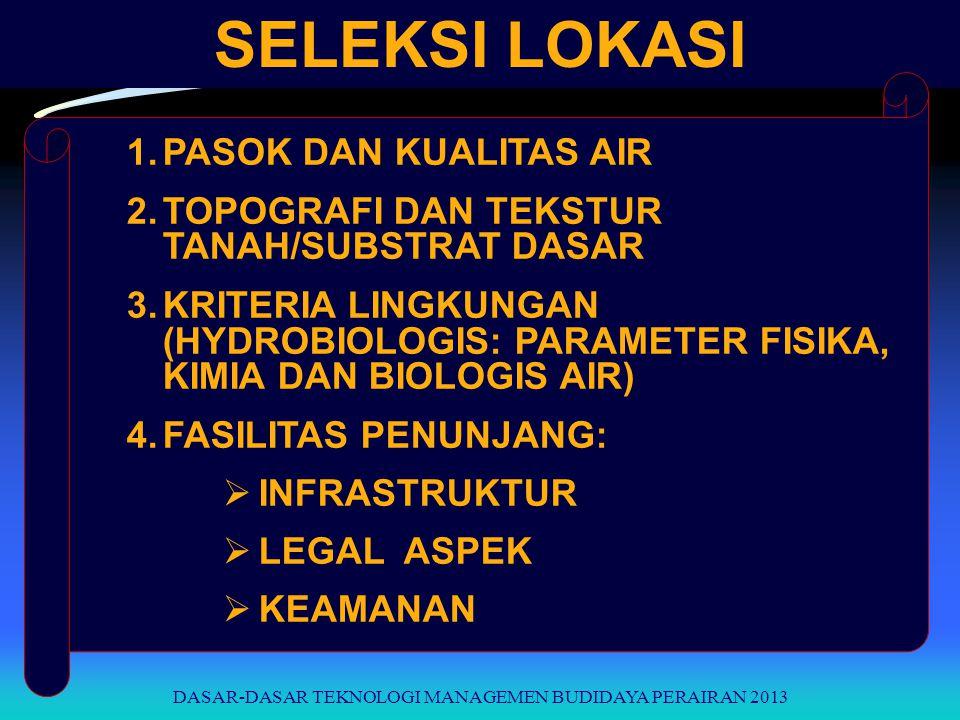 SELEKSI LOKASI 1.PASOK DAN KUALITAS AIR 2.TOPOGRAFI DAN TEKSTUR TANAH/SUBSTRAT DASAR 3.KRITERIA LINGKUNGAN (HYDROBIOLOGIS: PARAMETER FISIKA, KIMIA DAN