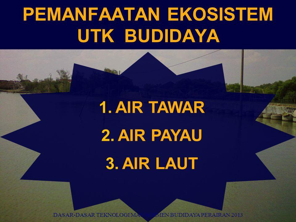PEMANFAATAN EKOSISTEM UTK BUDIDAYA 1.AIR TAWAR 2.AIR PAYAU 3.AIR LAUT DASAR-DASAR TEKNOLOGI MANAGEMEN BUDIDAYA PERAIRAN 2013