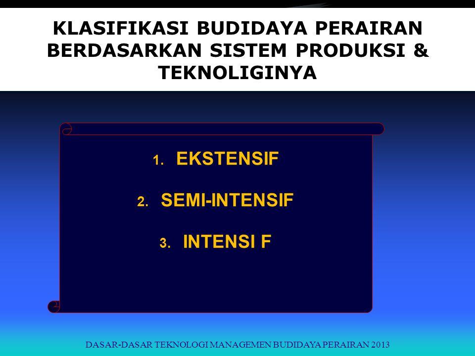 KLASIFIKASI BUDIDAYA PERAIRAN BERDASARKAN SISTEM PRODUKSI & TEKNOLIGINYA 1. EKSTENSIF 2. SEMI-INTENSIF 3. INTENSI F DASAR-DASAR TEKNOLOGI MANAGEMEN BU