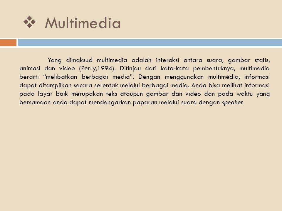  Multimedia Yang dimaksud multimedia adalah interaksi antara suara, gambar statis, animasi dan video (Perry,1994). Ditinjau dari kata-kata pembentukn