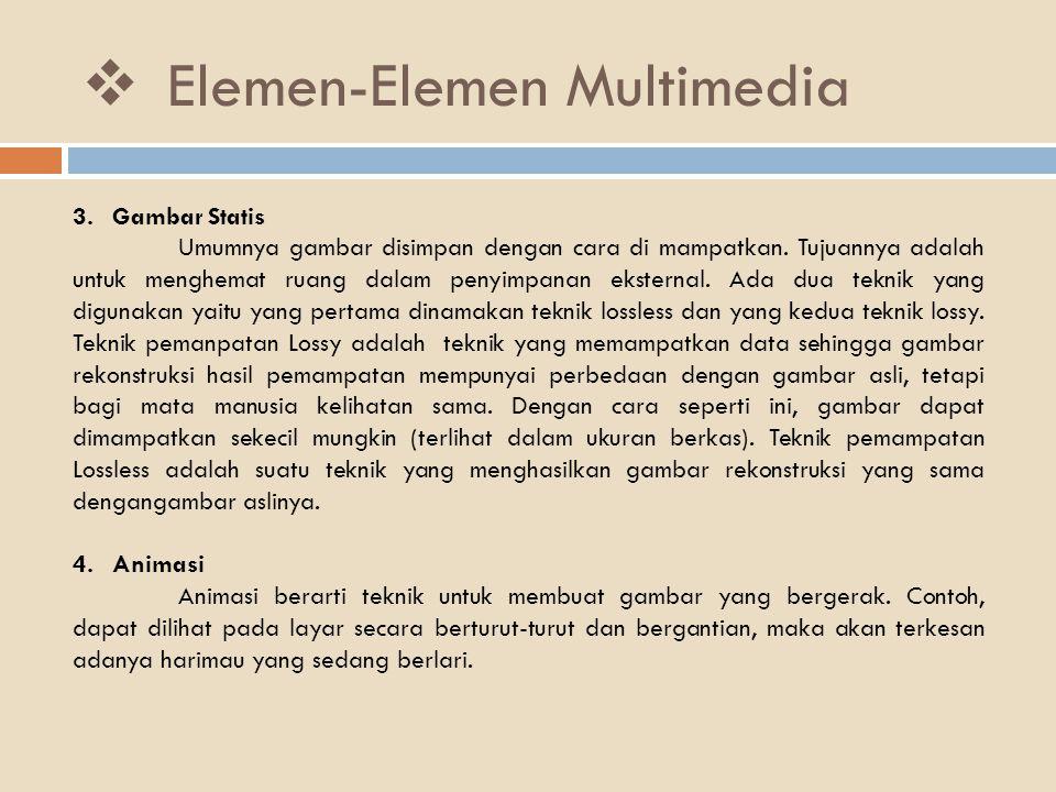  Elemen-Elemen Multimedia 3.Gambar Statis Umumnya gambar disimpan dengan cara di mampatkan. Tujuannya adalah untuk menghemat ruang dalam penyimpanan