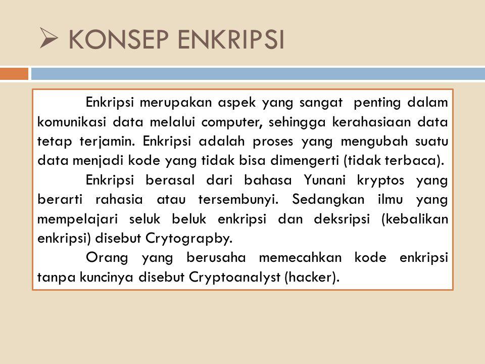  KONSEP ENKRIPSI Enkripsi merupakan aspek yang sangat penting dalam komunikasi data melalui computer, sehingga kerahasiaan data tetap terjamin.