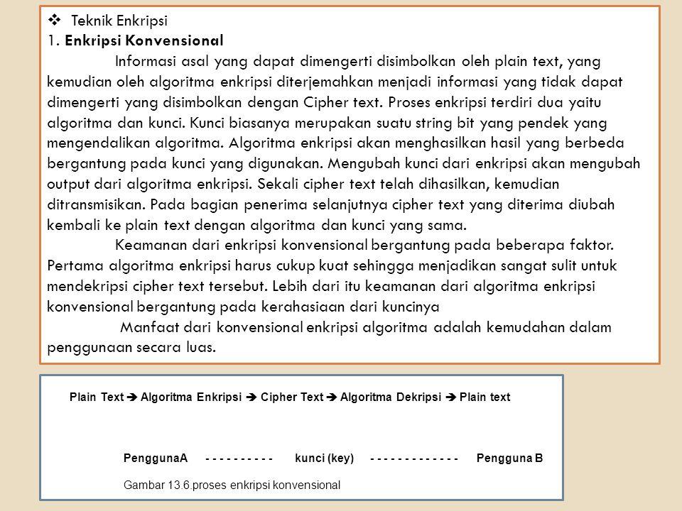 2.Enkripsi Public-key Untuk enkripsi konvensional, kunci yang digunakan pada proses enkripsi dan dekripsi adalah sama.