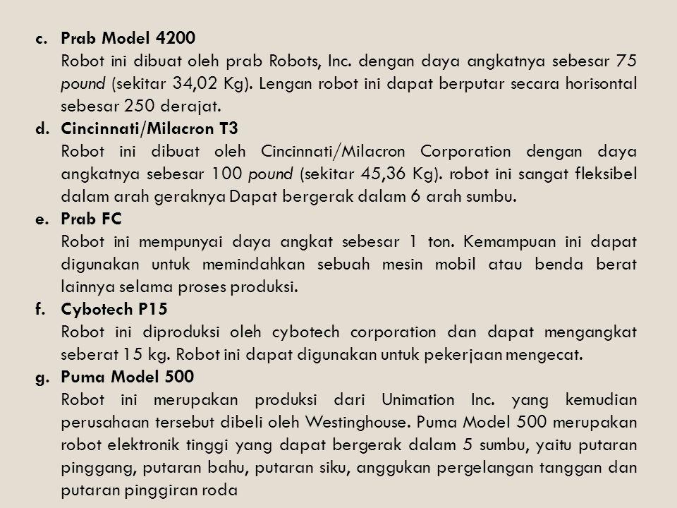c.Prab Model 4200 Robot ini dibuat oleh prab Robots, Inc. dengan daya angkatnya sebesar 75 pound (sekitar 34,02 Kg). Lengan robot ini dapat berputar s