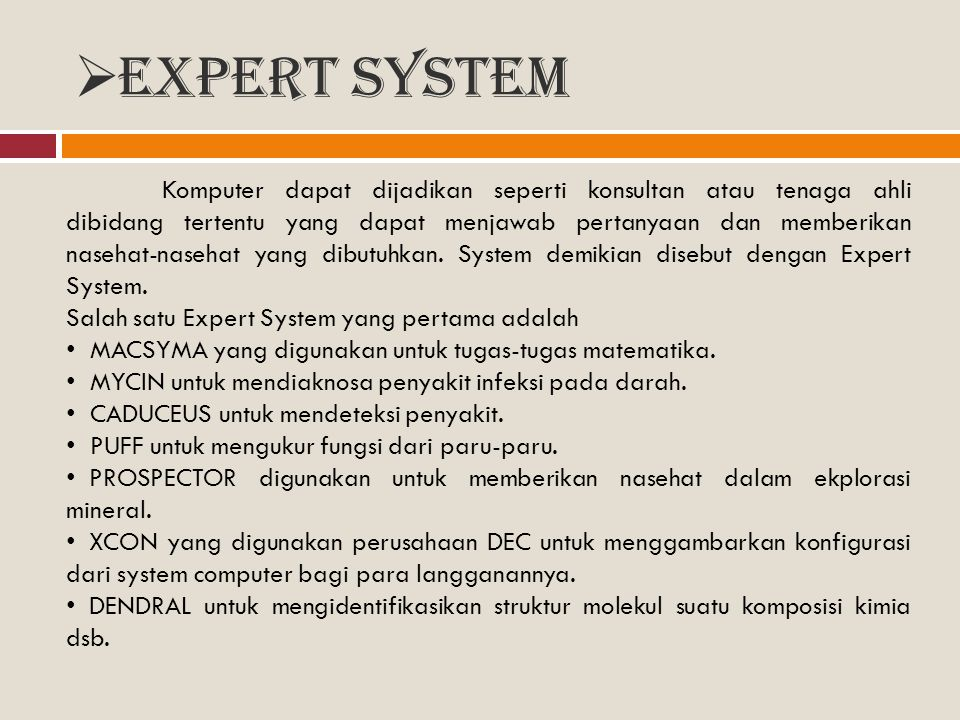  Expert System Komputer dapat dijadikan seperti konsultan atau tenaga ahli dibidang tertentu yang dapat menjawab pertanyaan dan memberikan nasehat-na