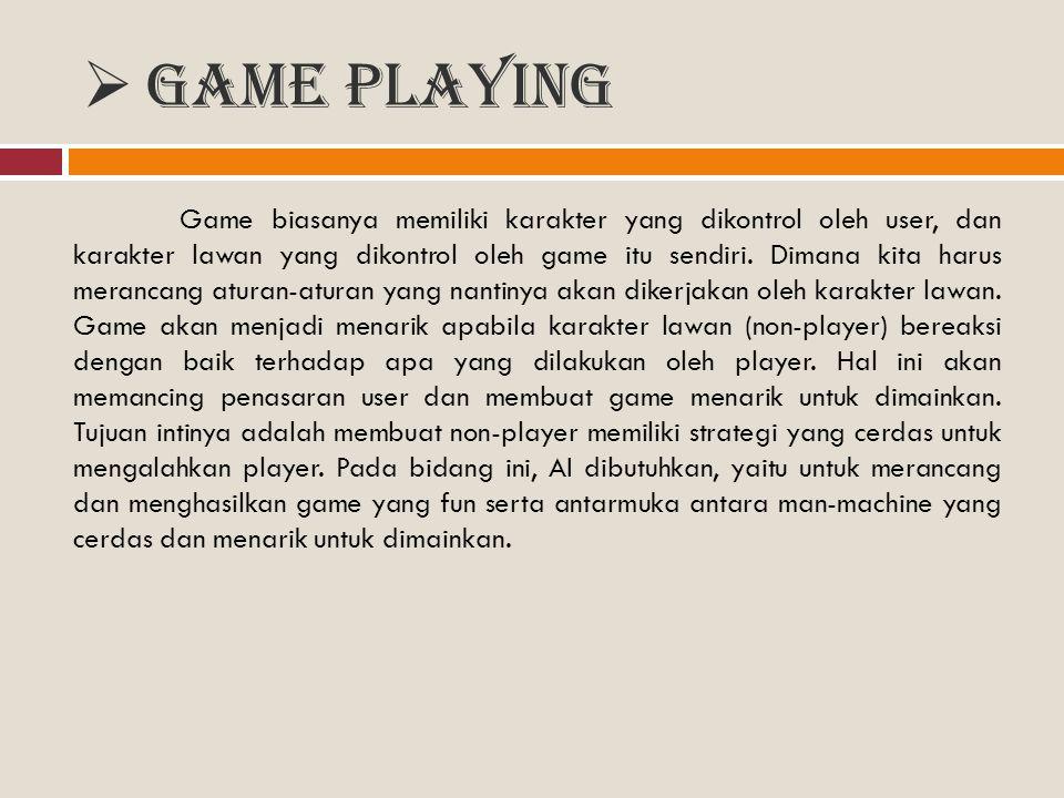  Game Playing Game biasanya memiliki karakter yang dikontrol oleh user, dan karakter lawan yang dikontrol oleh game itu sendiri. Dimana kita harus me