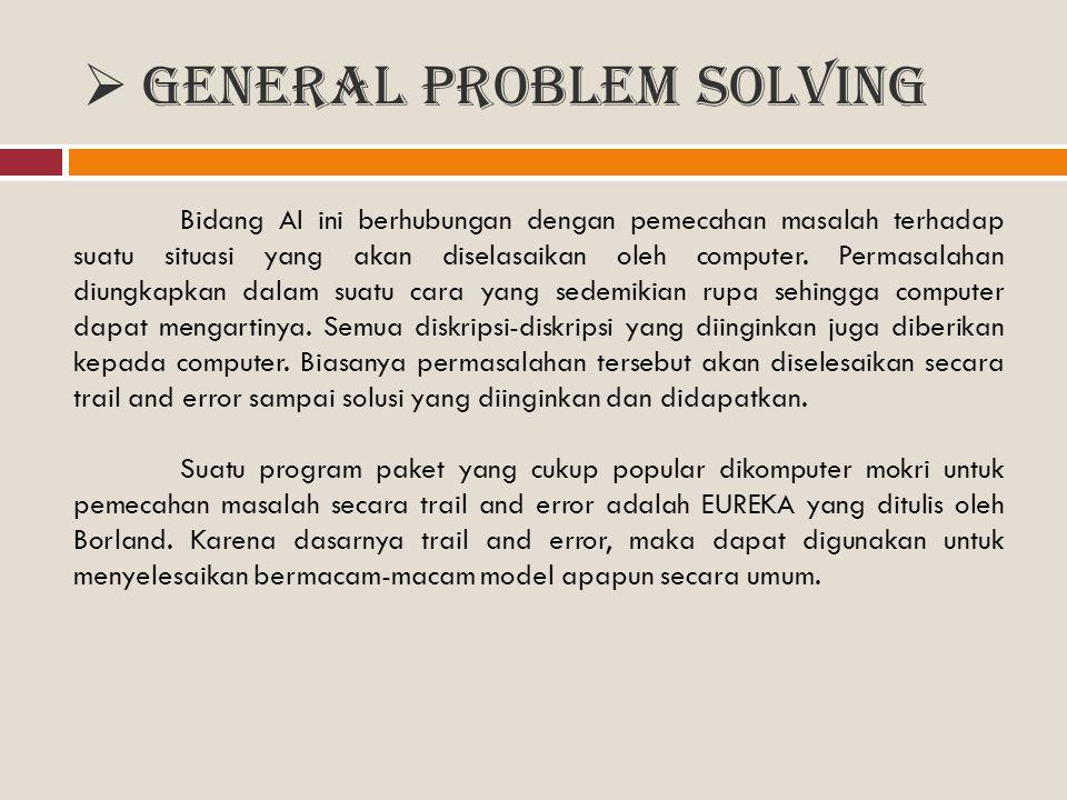  General Problem Solving Bidang AI ini berhubungan dengan pemecahan masalah terhadap suatu situasi yang akan diselasaikan oleh computer. Permasalahan