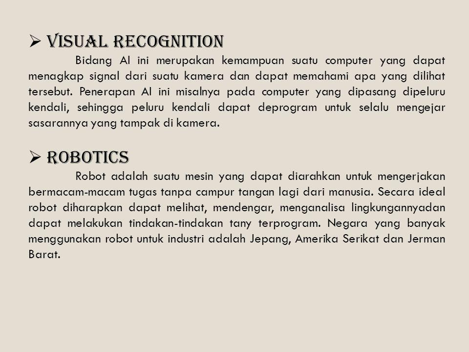  Visual recognition Bidang AI ini merupakan kemampuan suatu computer yang dapat menagkap signal dari suatu kamera dan dapat memahami apa yang dilihat