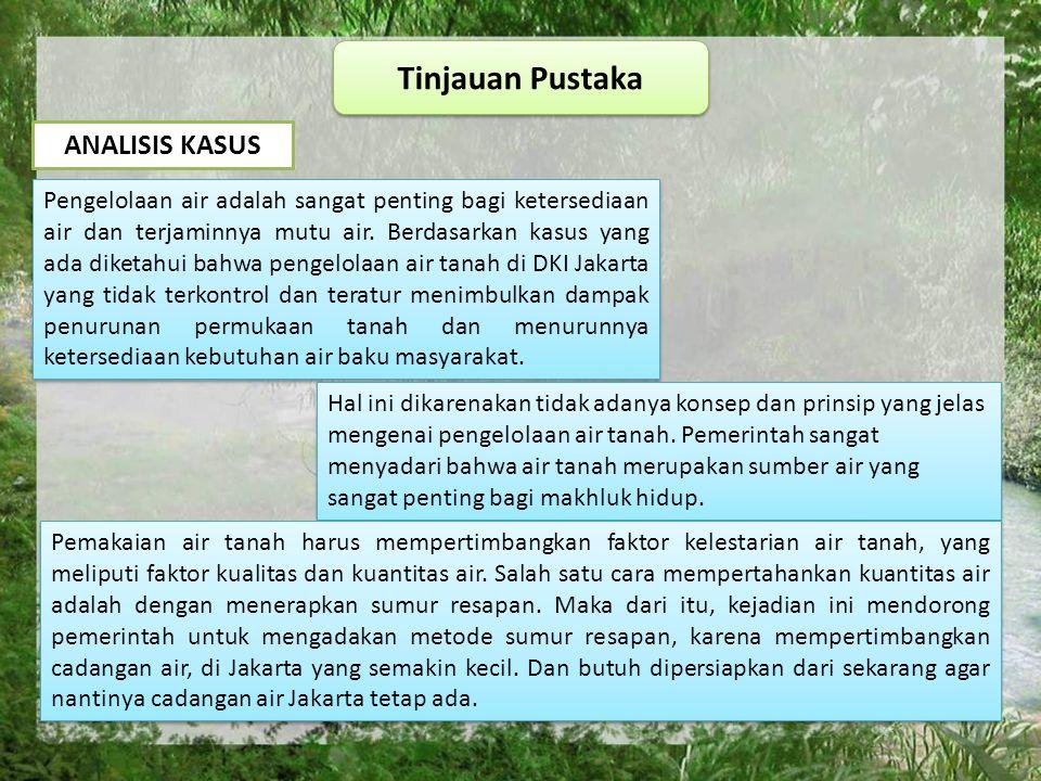 Tinjauan Pustaka ANALISIS KASUS Pengelolaan air adalah sangat penting bagi ketersediaan air dan terjaminnya mutu air.