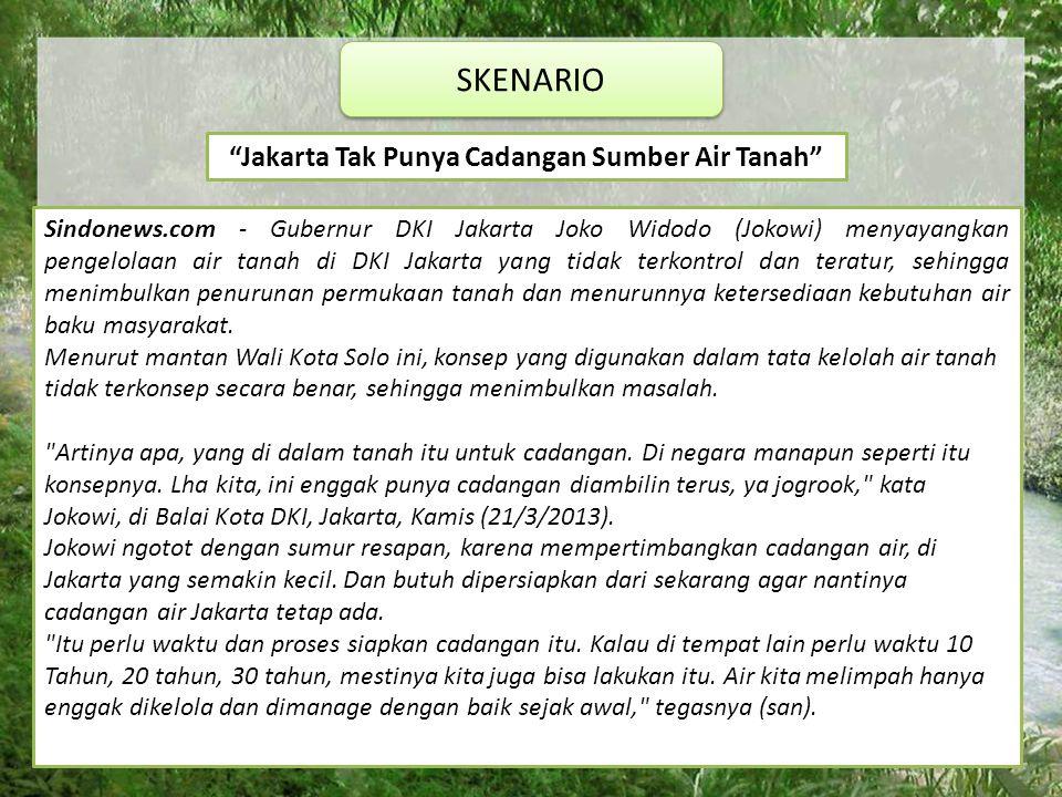 SKENARIO Jakarta Tak Punya Cadangan Sumber Air Tanah Sindonews.com - Gubernur DKI Jakarta Joko Widodo (Jokowi) menyayangkan pengelolaan air tanah di DKI Jakarta yang tidak terkontrol dan teratur, sehingga menimbulkan penurunan permukaan tanah dan menurunnya ketersediaan kebutuhan air baku masyarakat.