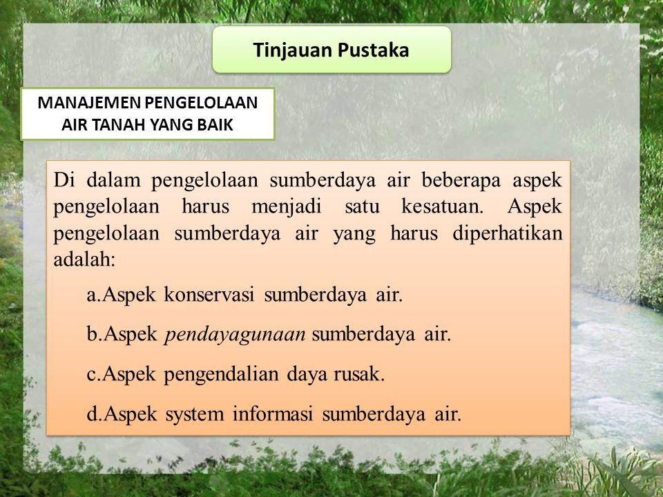 Tinjauan Pustaka MANAJEMEN PENGELOLAAN AIR TANAH YANG BAIK Di dalam pengelolaan sumberdaya air beberapa aspek pengelolaan harus menjadi satu kesatuan.