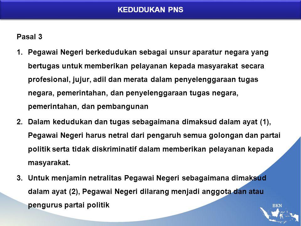 BKN KEDUDUKAN PNS Pasal 3 1.Pegawai Negeri berkedudukan sebagai unsur aparatur negara yang bertugas untuk memberikan pelayanan kepada masyarakat secar