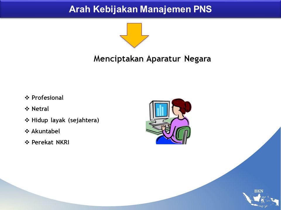 BKN MISI 1.Mengembangkan manajemen PNS secara tepat dan sesuai dengan kompetensi yang dibutuhkan 2.Regulasi dan Debirokratisasi kepegawaian 3.Menyelenggarakan pelayanan prima bidang kepegawaian 4.Mengembangkan Sistem Informasi Manajemen Kepegawaian secara Online 5.Menyelenggarakan pengawasan dan pengendalian kepegawaian