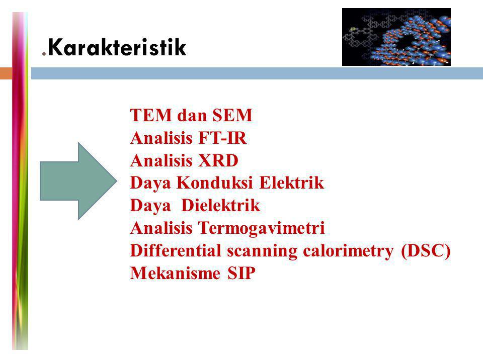 .Karakteristik TEM dan SEM Analisis FT-IR Analisis XRD Daya Konduksi Elektrik Daya Dielektrik Analisis Termogavimetri Differential scanning calorimetr
