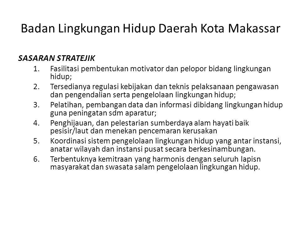 Badan Lingkungan Hidup Daerah Kota Makassar SASARAN STRATEJIK 1.Fasilitasi pembentukan motivator dan pelopor bidang lingkungan hidup; 2.Tersedianya re