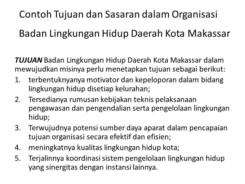 Badan Lingkungan Hidup Daerah Kota Makassar SASARAN STRATEJIK 1.Fasilitasi pembentukan motivator dan pelopor bidang lingkungan hidup; 2.Tersedianya regulasi kebijakan dan teknis pelaksanaan pengawasan dan pengendalian serta pengelolaan lingkungan hidup; 3.Pelatihan, pembangan data dan informasi dibidang lingkungan hidup guna peningatan sdm aparatur; 4.Penghijauan, dan pelestarian sumberdaya alam hayati baik pesisir/laut dan menekan pencemaran kerusakan 5.Koordinasi sistem pengelolaan lingkungan hidup yang antar instansi, anatar wilayah dan instansi pusat secara berkesinambungan.