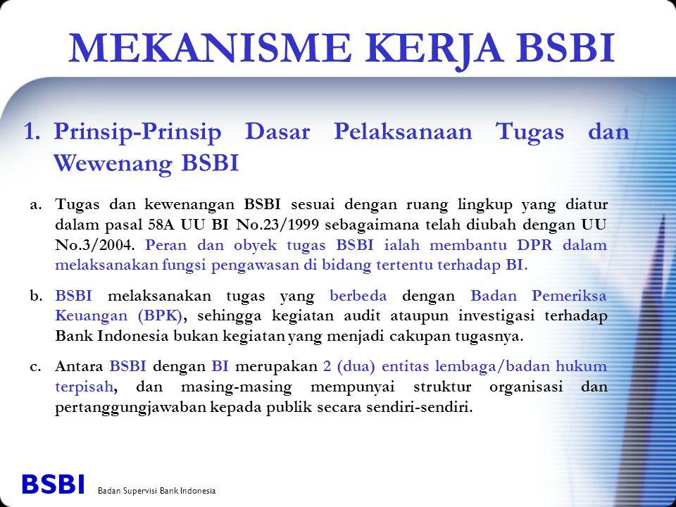 1. Prinsip-Prinsip Dasar Pelaksanaan Tugas dan Wewenang BSBI a.Tugas dan kewenangan BSBI sesuai dengan ruang lingkup yang diatur dalam pasal 58A UU BI